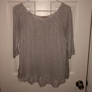 Cream tee with lace back